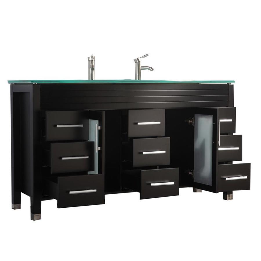 MTD Vanities Espresso Integral Double Sink Bathroom Vanity with Glass Top (Common: 71-in x 22-in; Actual: 71-in x 22-in)