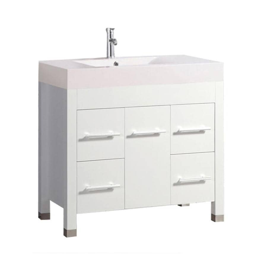 MTD Vanities Greece White (Common: 36-in x 19-in) Integral Single Sink Oak Bathroom Vanity with Acrylic Top (Faucet and Mirror Included) (Actual: 35.4-in x 18.9-in)