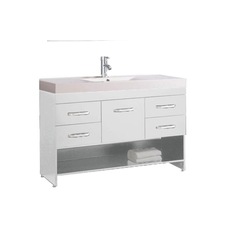 MTD Vanities White Integrated Single Sink Bathroom Vanity with Acrylic Top (Common: 48-in x 19-in; Actual: 47.2-in x 18.1-in)