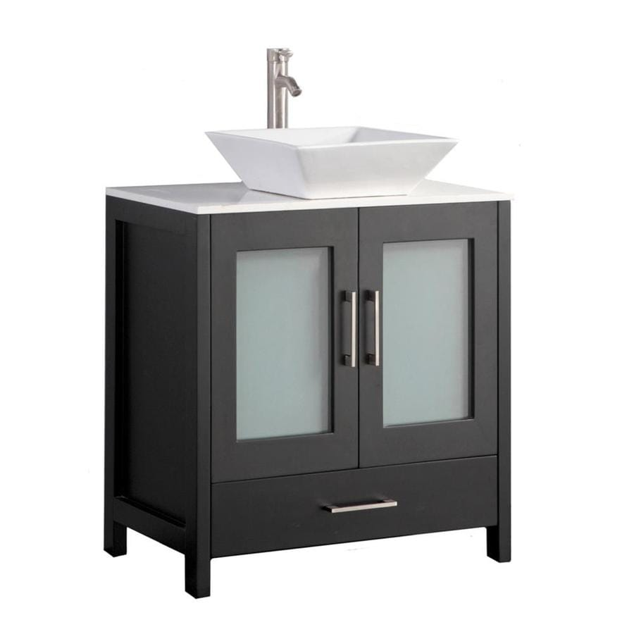 Shop Mtd Vanities Espresso Double Vessel Sink Bathroom Vanity With Quartz Top Common 24 In X