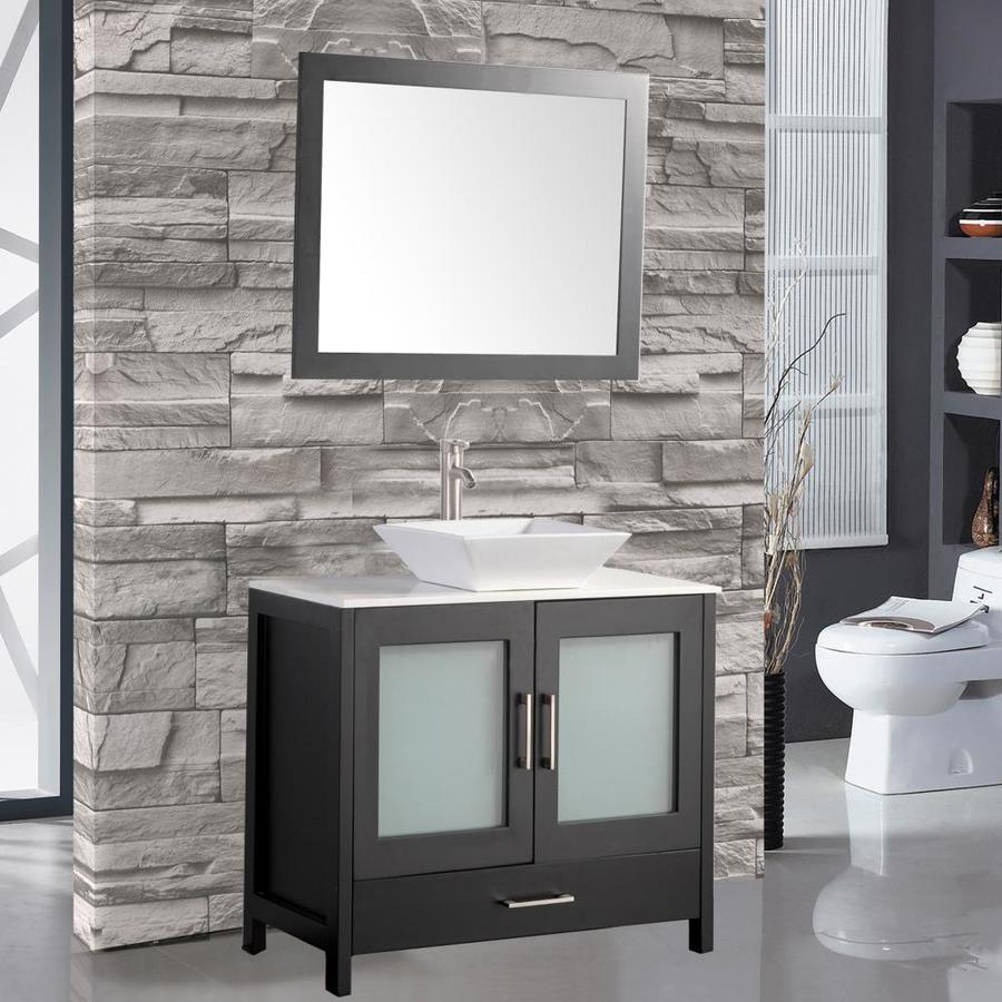 MTD Vanities Jordan Espresso (Common: 36-in x 18-in) Vessel Double Sink Oak Bathroom Vanity with Quartz Top (Faucet and Mirror Included) (Actual: 36-in x 18-in)