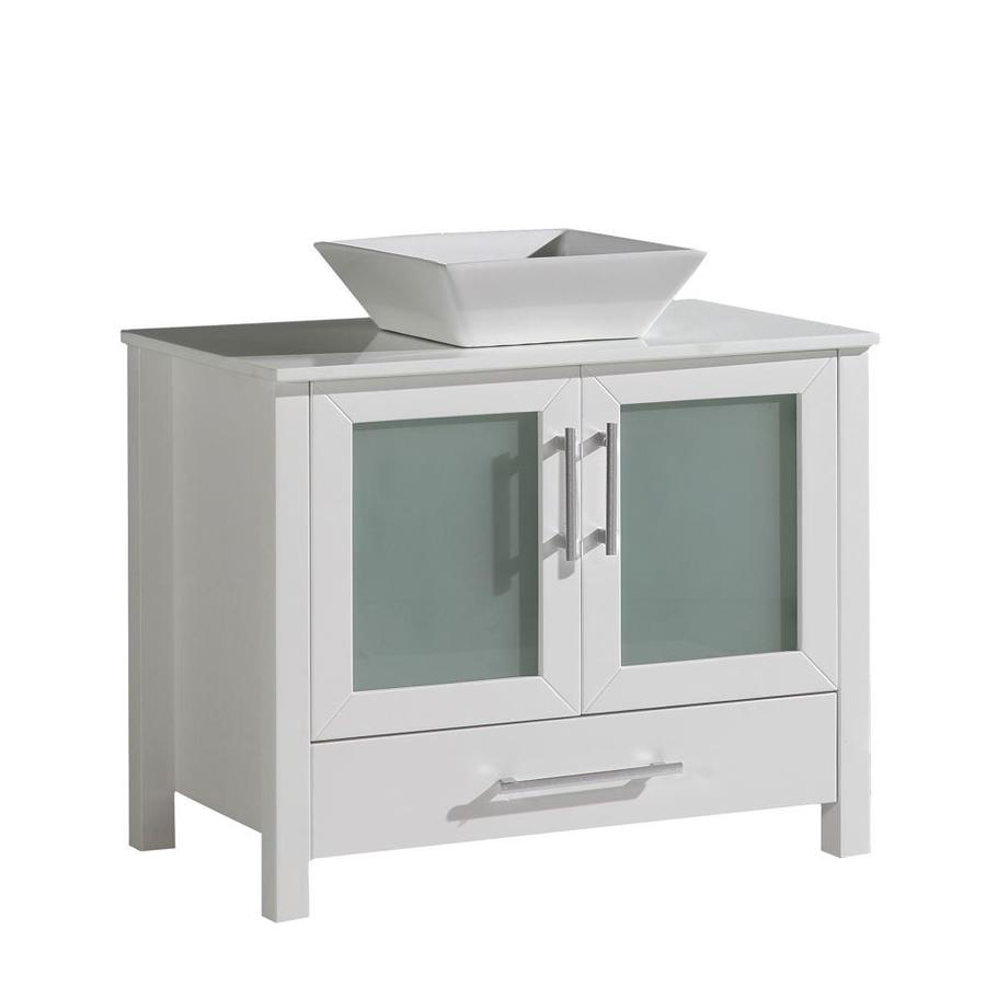 MTD Vanities White Vessel Single Sink Bathroom Vanity with Quartz Top (Common: 36-in x 18-in; Actual: 36-in x 18-in)