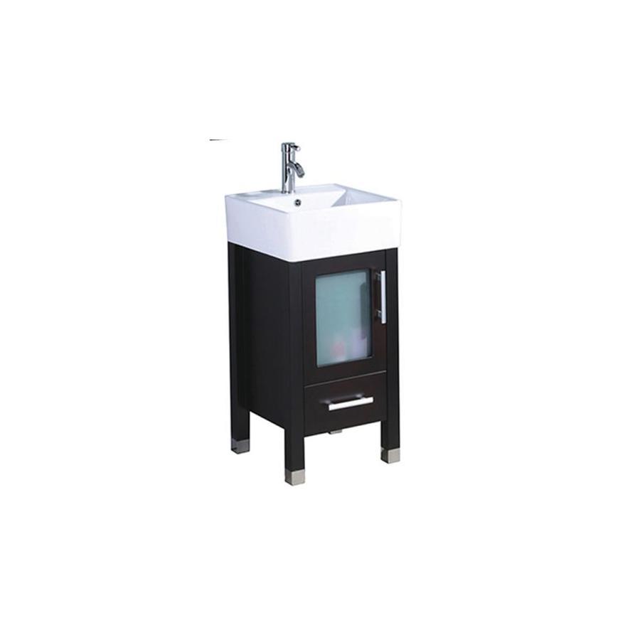MTD Vanities Espresso Single Vessel Sink Bathroom Vanity with Engineered Stone Top (Common: 18-in x 18-in; Actual: 18.1-in x 18.1-in)