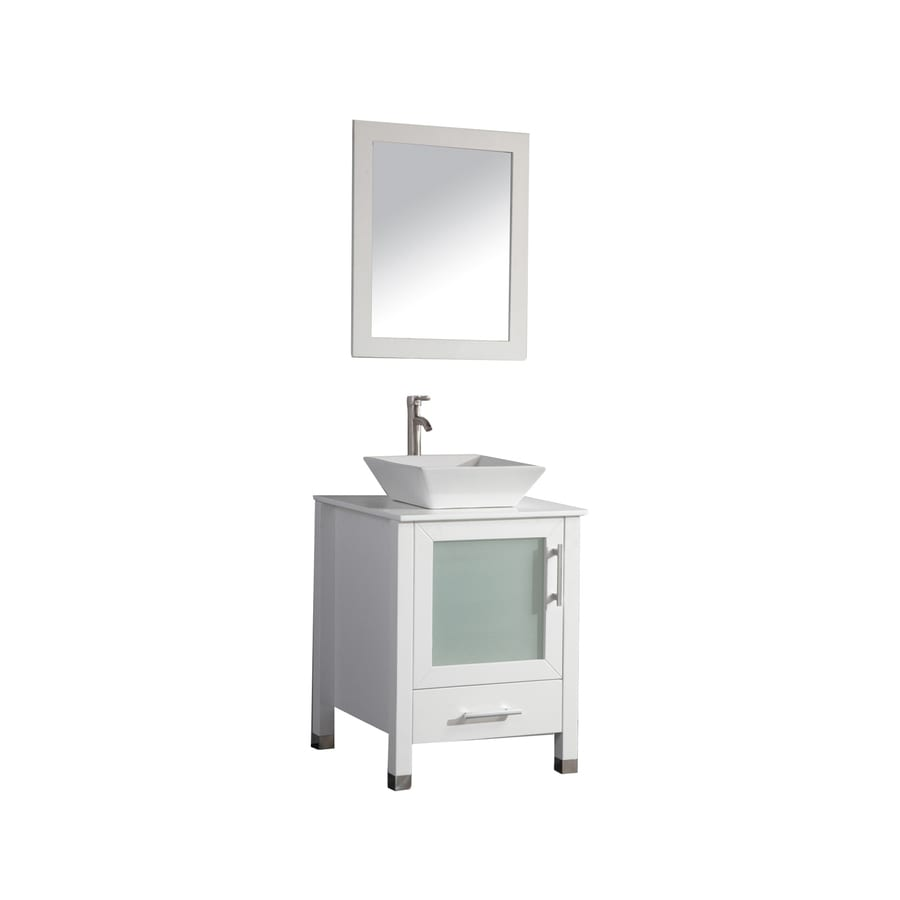 MTD Vanities Malta White (Common: 24-in x 18-in) Vessel Single Sink Oak Bathroom Vanity with Engineered Stone Top (Faucet and Mirror Included) (Actual: 23.6-in x 23.6-in)