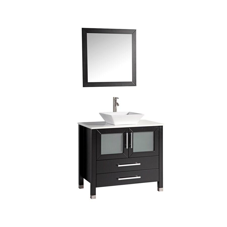MTD Vanities Espresso Single Vessel Sink Bathroom Vanity with Engineered Stone Top (Common: 36-in x 20-in; Actual: 35.4-in x 20.5-in)