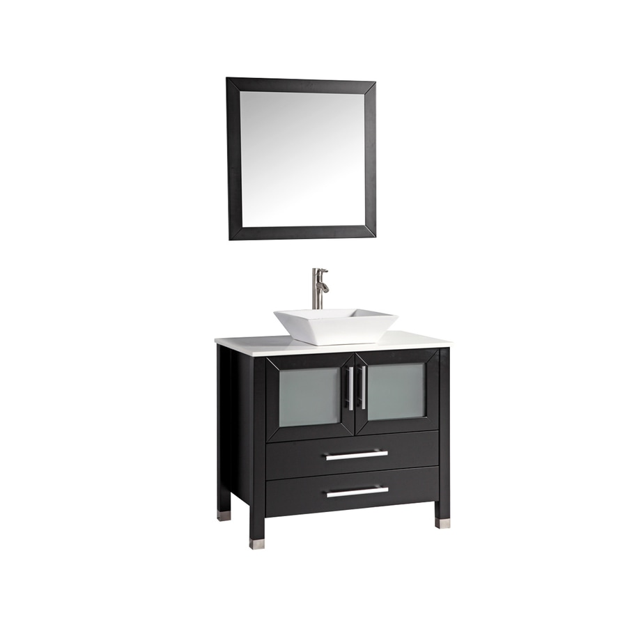 MTD Vanities Malta Espresso 35.4-in Vessel Single Sink Oak Bathroom Vanity with Engineered Stone Top (Faucet and Mirror Included)