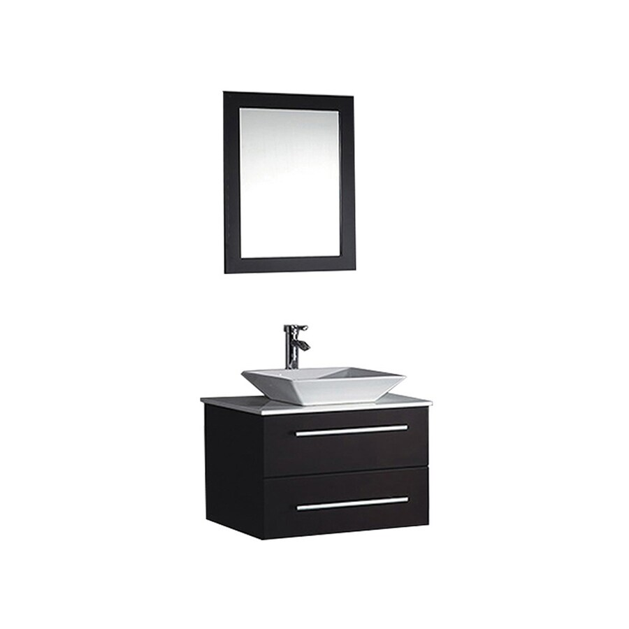 MTD Vanities Malta Espresso (Common: 36-in x 20-in) Vessel Single Sink Oak Bathroom Vanity with Engineered Stone Top (Faucet and Mirror Included) (Actual: 36-in x 19.7-in)