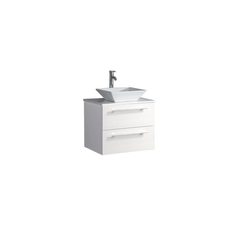 MTD Vanities Malta White (Common: 36-in x 20-in) Vessel Single Sink Oak Bathroom Vanity with Engineered Stone Top (Faucet and Mirror Included) (Actual: 36-in x 19.7-in)