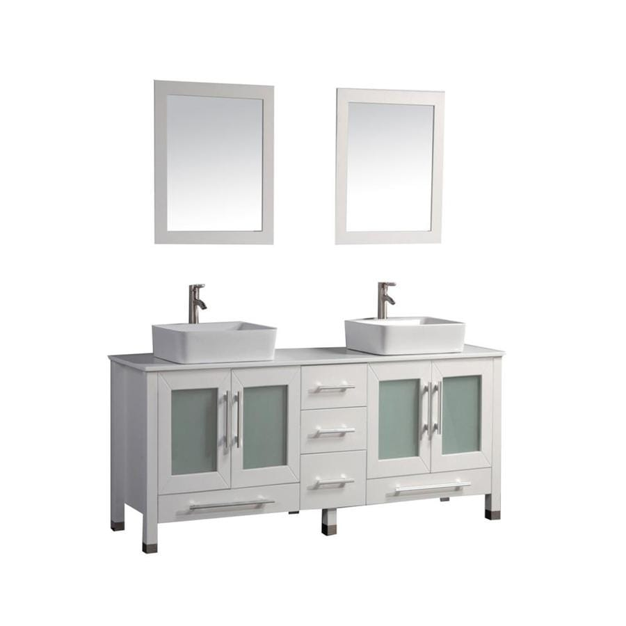 MTD Vanities Malta White 61-in Vessel Double Sink Oak Bathroom Vanity with Engineered Stone Top (Faucet and Mirror Included)