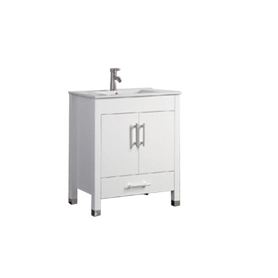 MTD Vanities Monaco White (Common: 23-in x 18-in) Integral Single Sink Oak Bathroom Vanity with Engineered Stone Top (Faucet and Mirror Included) (Actual: 22.8-in x 17.5-in)
