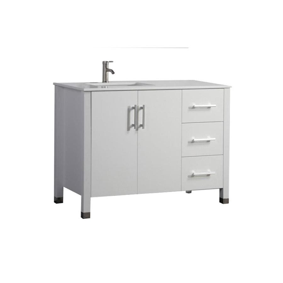 MTD Vanities White Undermount Single Sink Bathroom Vanity with Engineered Stone Top (Common: 40-in x 22-in; Actual: 40-in x 22-in)