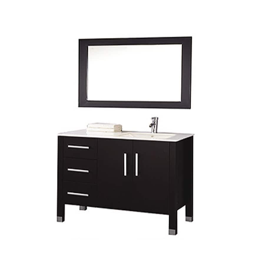 MTD Vanities 40-in Espresso Undermount Single Sink Bathroom Vanity with Engineered Stone Top (Faucet and Mirror Included)