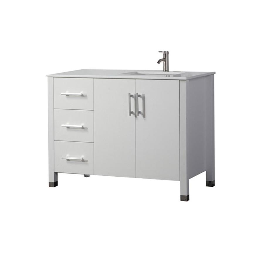 MTD Vanities Monaco White 40-in Undermount Single Sink Oak Bathroom Vanity with Engineered Stone Top (Faucet and Mirror Included)