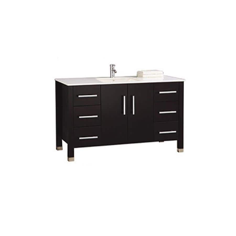 MTD Vanities Espresso Undermount Single Sink Bathroom Vanity with Engineered Stone Top (Common: 60-in x 22-in; Actual: 60-in x 22-in)