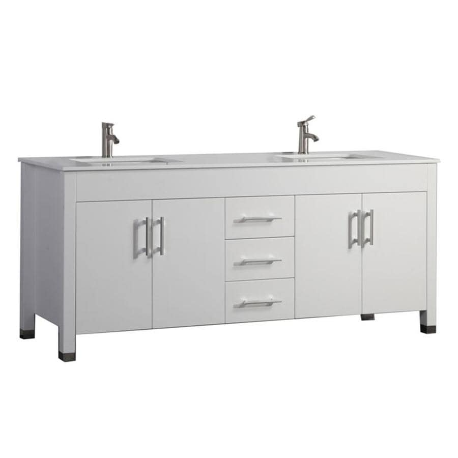 MTD Vanities Monaco White 63-in Undermount Double Sink Oak Bathroom Vanity with Engineered Stone Top (Faucet and Mirror Included)