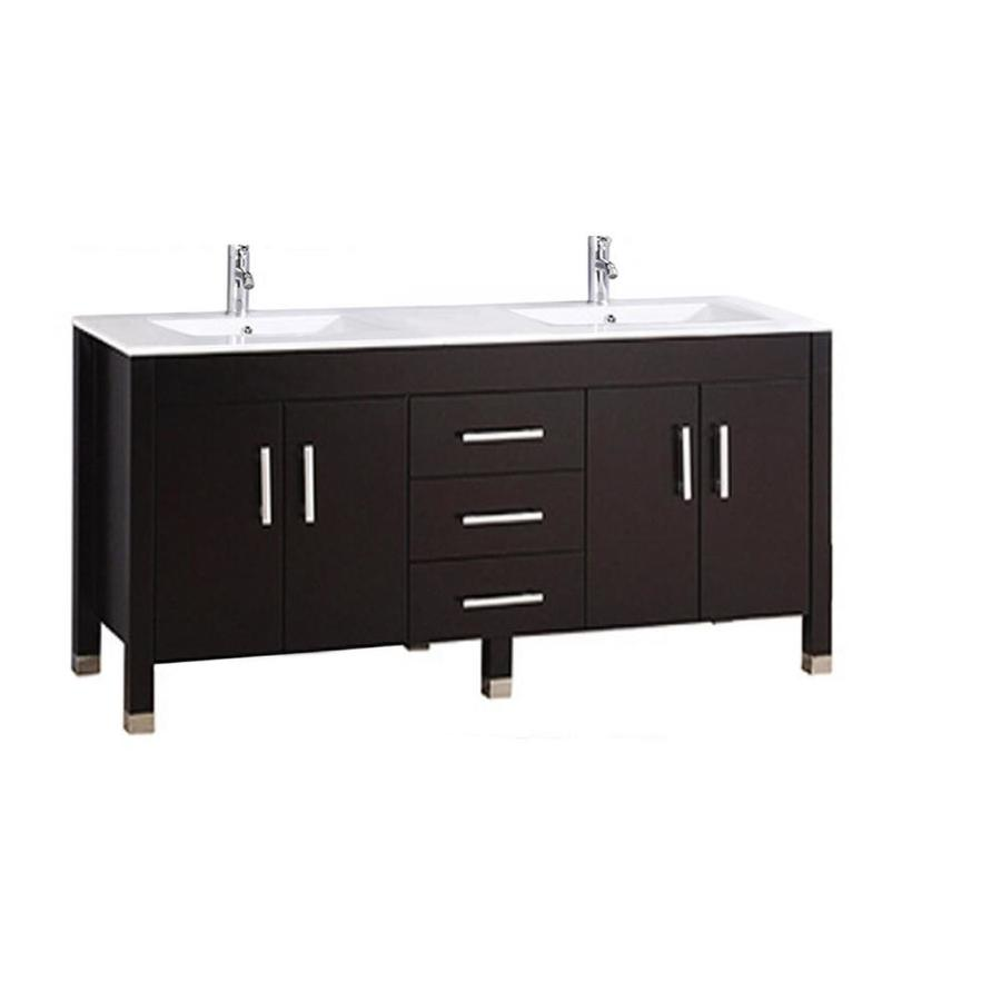 MTD Vanities Espresso Undermount Double Sink Bathroom Vanity with Engineered Stone Top (Common: 71-in x 22-in; Actual: 71-in x 22-in)