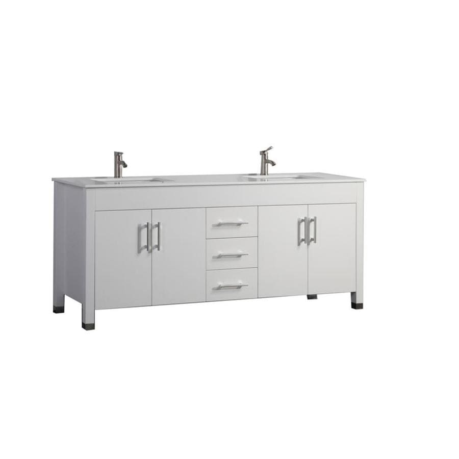 MTD Vanities Monaco White 84-in Undermount Double Sink Oak Bathroom Vanity with Engineered Stone Top (Faucet and Mirror Included)