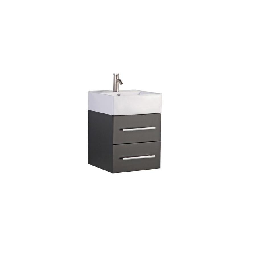 MTD Vanities Nepal Espresso (Common: 18-in x 18-in) Vessel Single Sink Oak Bathroom Vanity with Engineered Stone Top (Faucet and Mirror Included) (Actual: 18.1-in x 18.1-in)