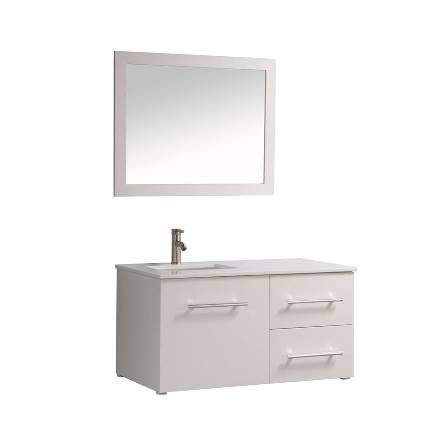MTD Vanities 41-in White Undermount Single Sink Bathroom Vanity with Engineered Stone Top (Faucet and Mirror Included)