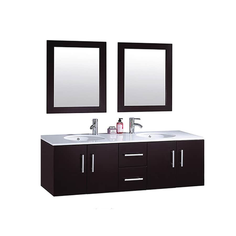 MTD Vanities Nepal Espresso (Common: 60-in x 22-in) Undermount Double Sink Oak Bathroom Vanity with Engineered Stone Top (Faucet and Mirror Included) (Actual: 59.1-in x 21.7-in)