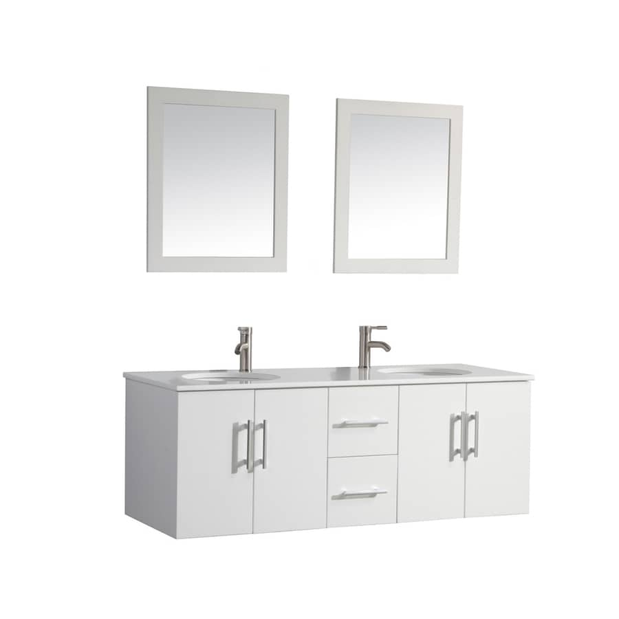 MTD Vanities 59.1-in White Undermount Double Sink Bathroom Vanity with Engineered Stone Top (Faucet and Mirror Included)