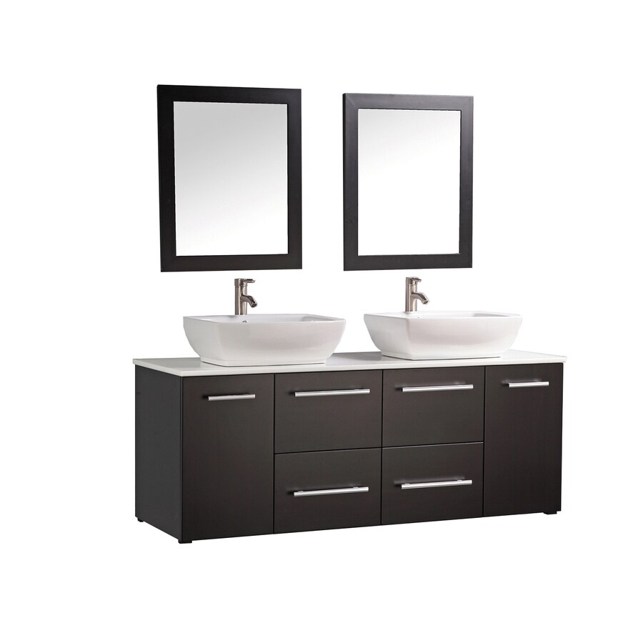 MTD Vanities Nepal Espresso 63-in Vessel Double Sink Oak Bathroom Vanity with Engineered Stone Top (Faucet and Mirror Included)