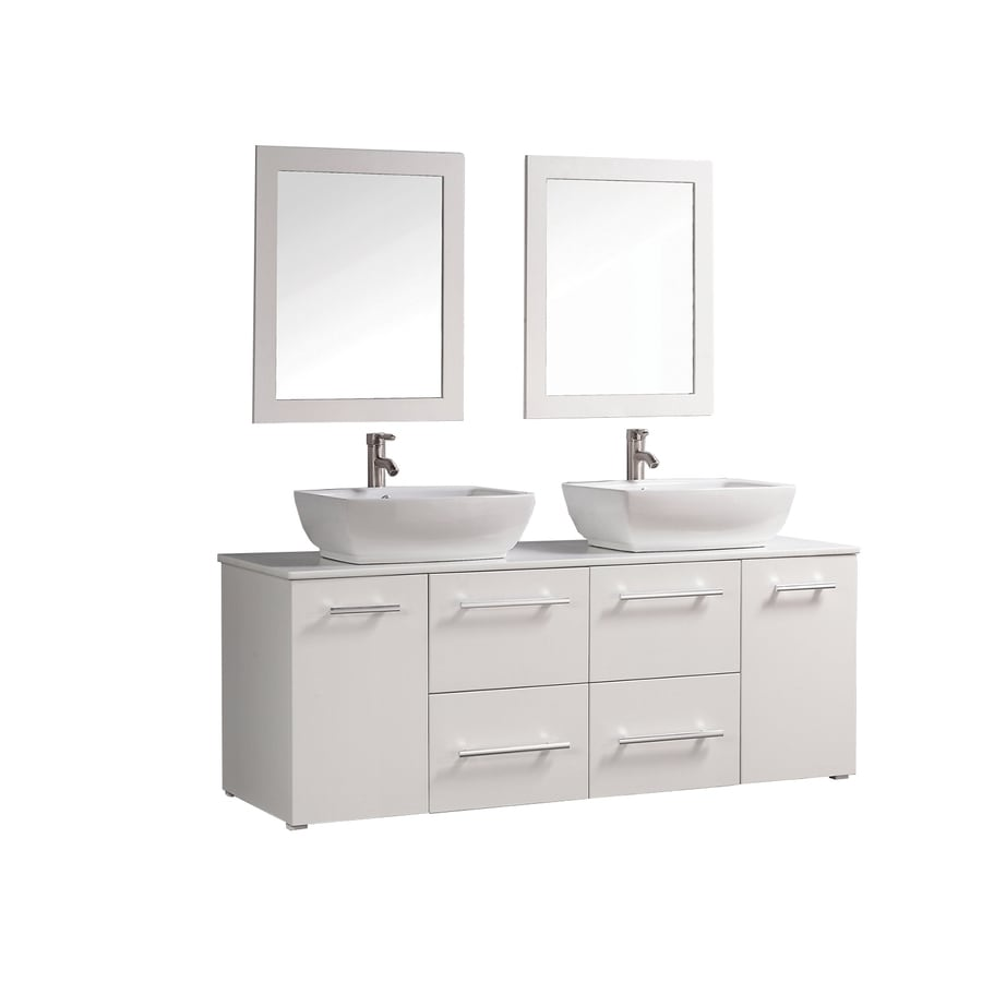 Shop Mtd Vanities White Double Vessel Sink Bathroom Vanity With Engineered Stone Top Common 63