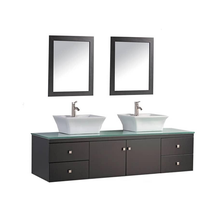 MTD Vanities 72-in Espresso Vessel Double Sink Bathroom Vanity with Glass Top (Faucet and Mirror Included)