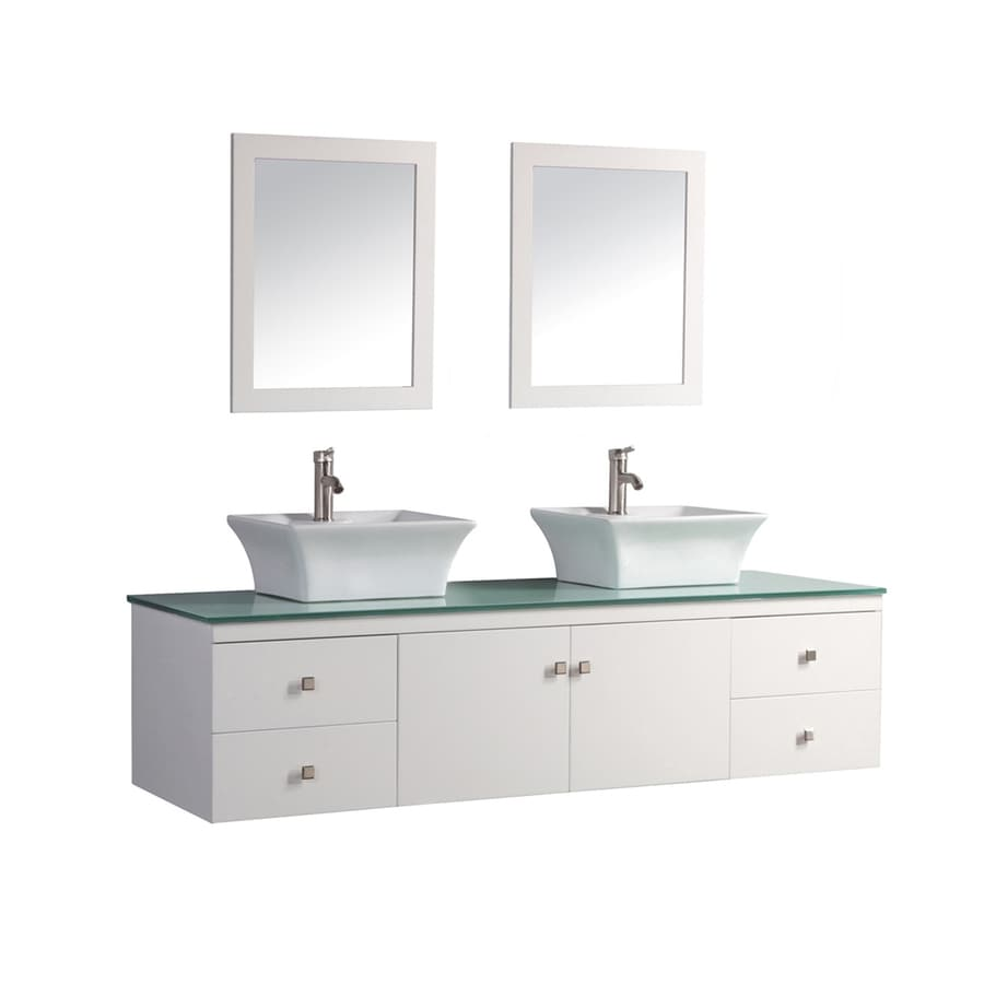 Shop mtd vanities white double vessel sink bathroom vanity with glass top common 72 in x 22 in Used bathroom vanity with sink
