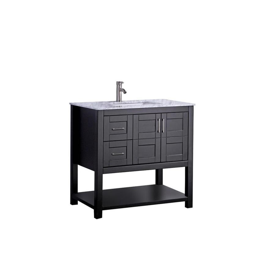 MTD Vanities Norway Espresso 24-in Undermount Single Sink Oak Bathroom Vanity with Natural Marble Top (Faucet and Mirror Included)