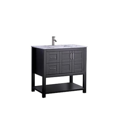 Mtd Vanities 30 In Espresso Single Sink Bathroom Vanity With White Carrera Natural Marble Top Mirror Included At Lowes Com