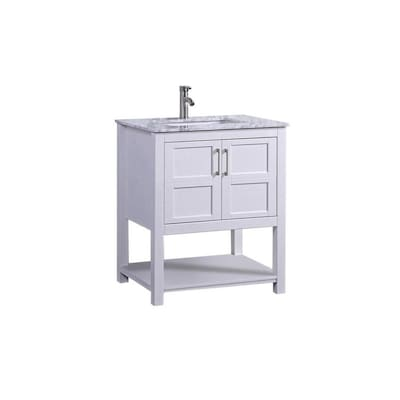 Mtd Vanities 30 In White Single Sink Bathroom Vanity With White Carrera Natural Marble Top At Lowes Com
