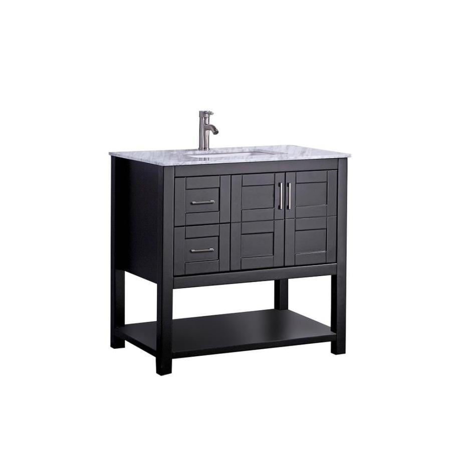 MTD Vanities Espresso Undermount Single Sink Bathroom Vanity with Natural Marble Top (Common: 36-in x 22-in; Actual: 36-in x 22-in)