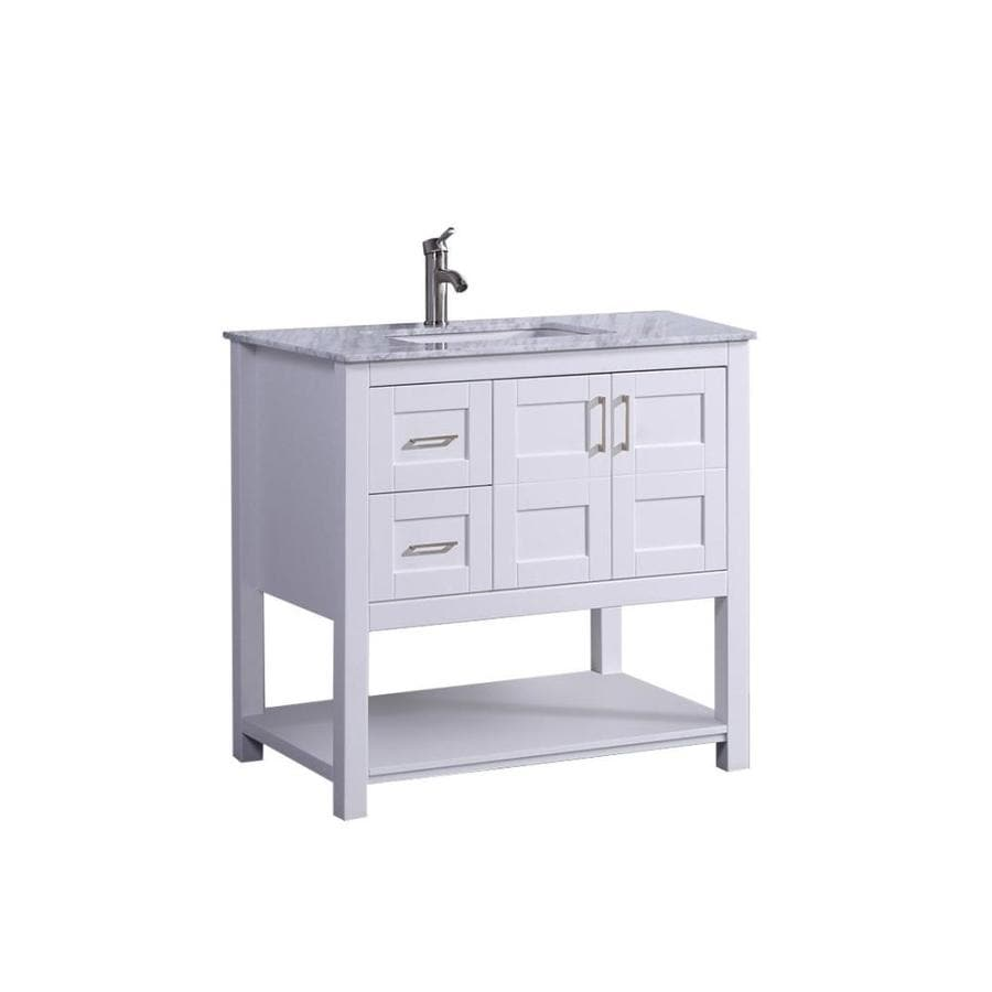 MTD Vanities Norway White (Common: 36-in x 22-in) Undermount Single Sink Oak Bathroom Vanity with Natural Marble Top (Faucet and Mirror Included) (Actual: 36-in x 22-in)