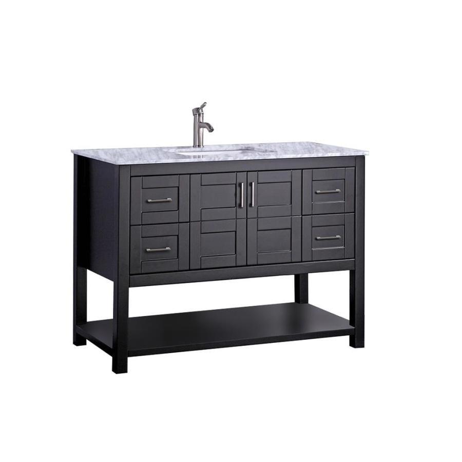 MTD Vanities Espresso Undermount Single Sink Bathroom Vanity with Natural Marble Top (Common: 48-in x 22-in; Actual: 48-in x 22-in)