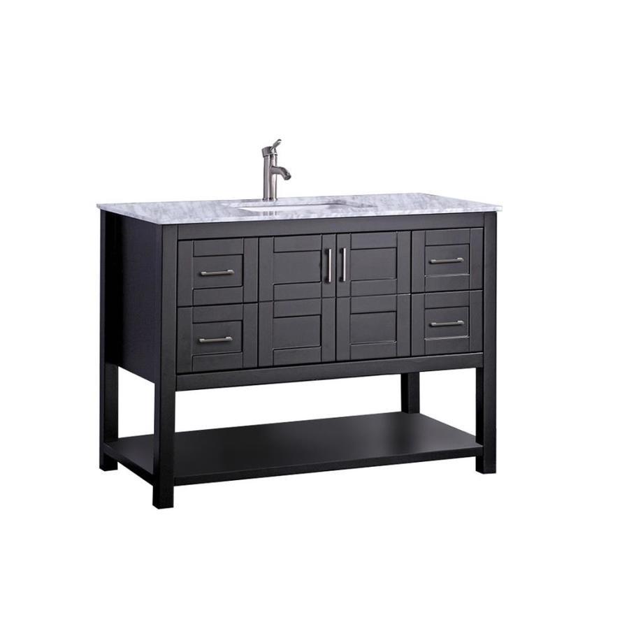 MTD Vanities Norway Espresso 48-in Undermount Single Sink Oak Bathroom Vanity with Natural Marble Top (Faucet and Mirror Included)