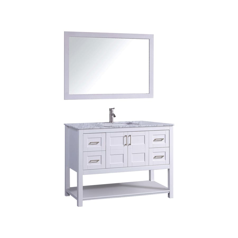MTD Vanities Norway White 48-in Undermount Single Sink Oak Bathroom Vanity with Natural Marble Top (Faucet and Mirror Included)
