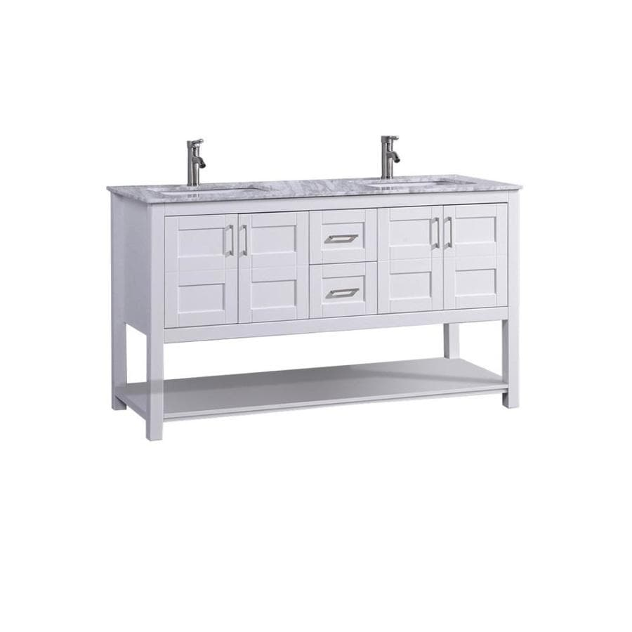 Shop MTD Vanities White Undermount Double Sink Bathroom Vanity With Natural M