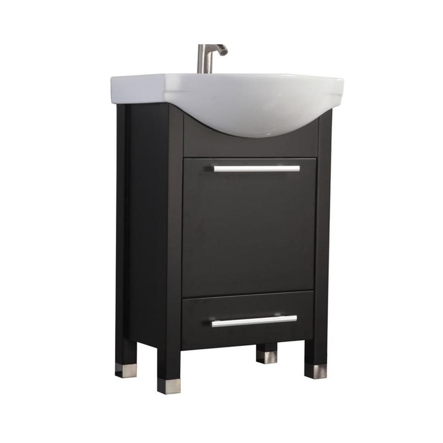 MTD Vanities 23.5-in Espresso Integral Single Sink Bathroom Vanity with Ceramic Top (Faucet and Mirror Included)