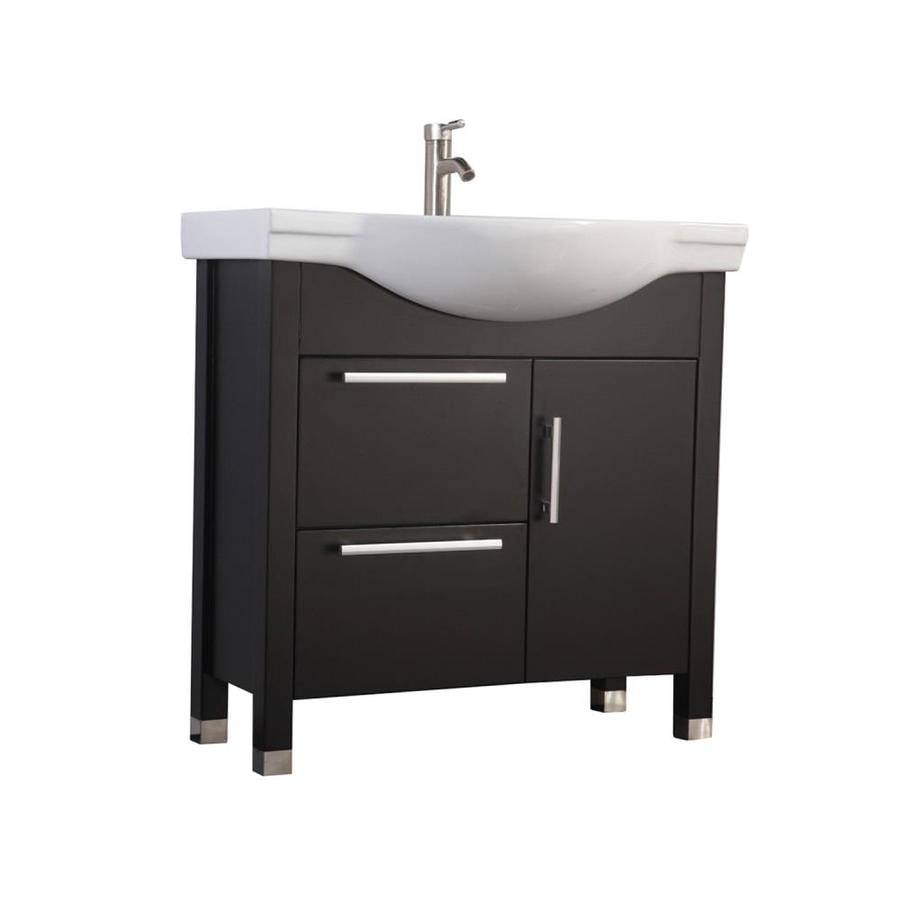 MTD Vanities Peru Espresso (Common: 36-in x 20-in) Integral Single Sink Oak Bathroom Vanity with Ceramic Top (Faucet and Mirror Included) (Actual: 35.4-in x 20.1-in)