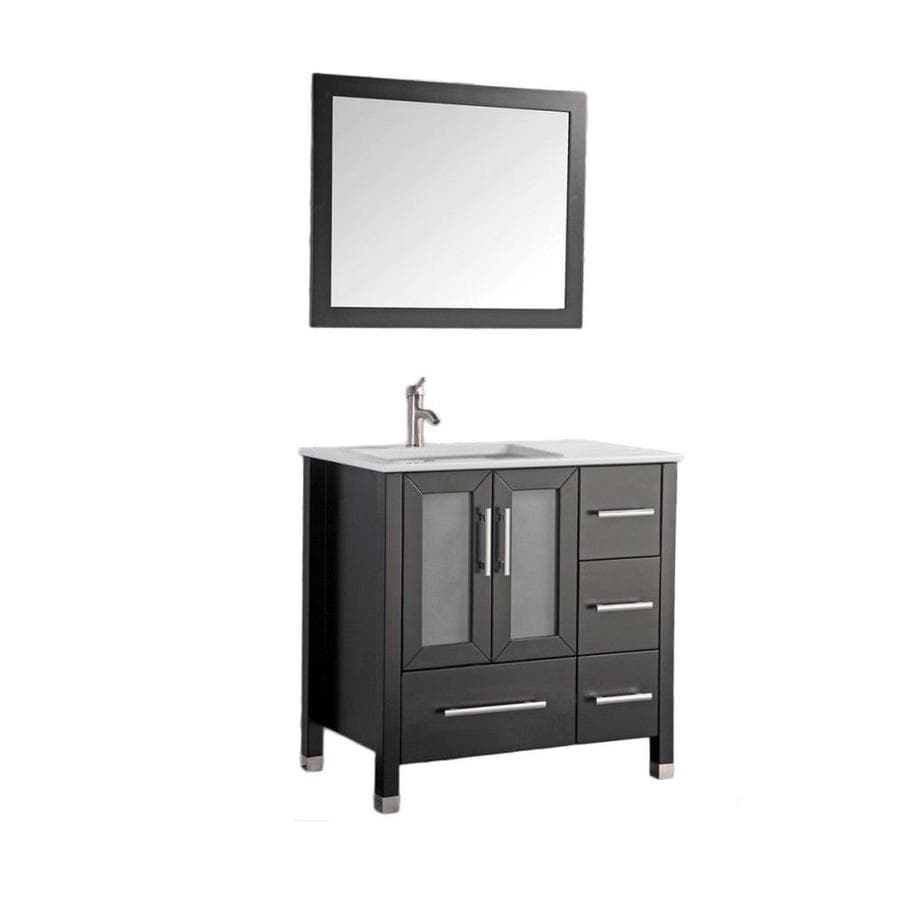 MTD Vanities Espresso Undermount Single Sink Bathroom Vanity with Ceramic Top (Common: 36-in x 22-in; Actual: 36.2-in x 21.7-in)