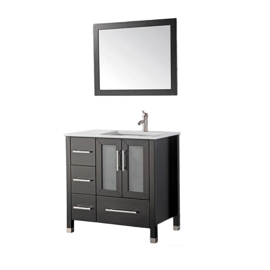 MTD Vanities Sweden Espresso (Common: 36-in x 22-in) Undermount Single Sink Oak Bathroom Vanity with Ceramic Top (Faucet and Mirror Included) (Actual: 36.2-in x 21.7-in)