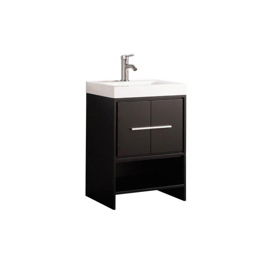 MTD Vanities Cypress Espresso 24-in Integral Single Sink Oak Bathroom Vanity with Acrylic Top (Faucet and Mirror Included)