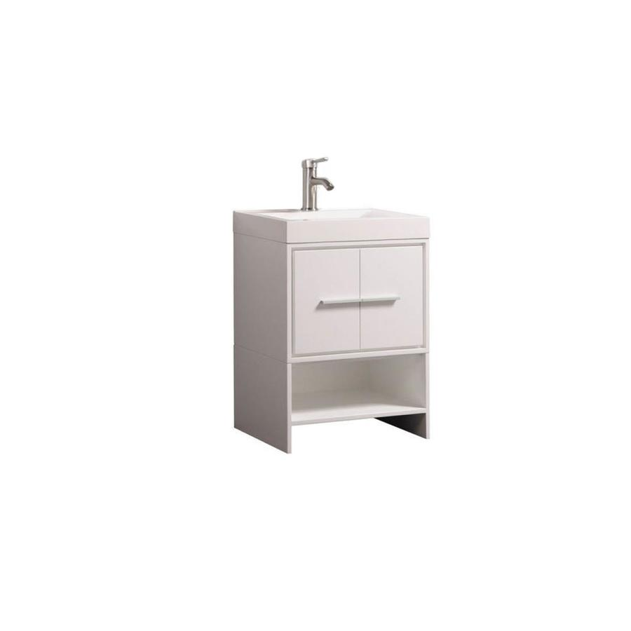 MTD Vanities White Integrated Single Sink Bathroom Vanity with Acrylic Top (Common: 24-in x 18-in; Actual: 24-in x 18-in)