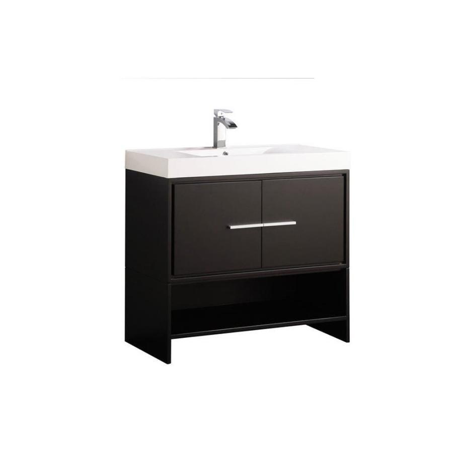 MTD Vanities Espresso Integral Single Sink Bathroom Vanity with Acrylic Top (Common: 36-in x 18-in; Actual: 36-in x 18-in)