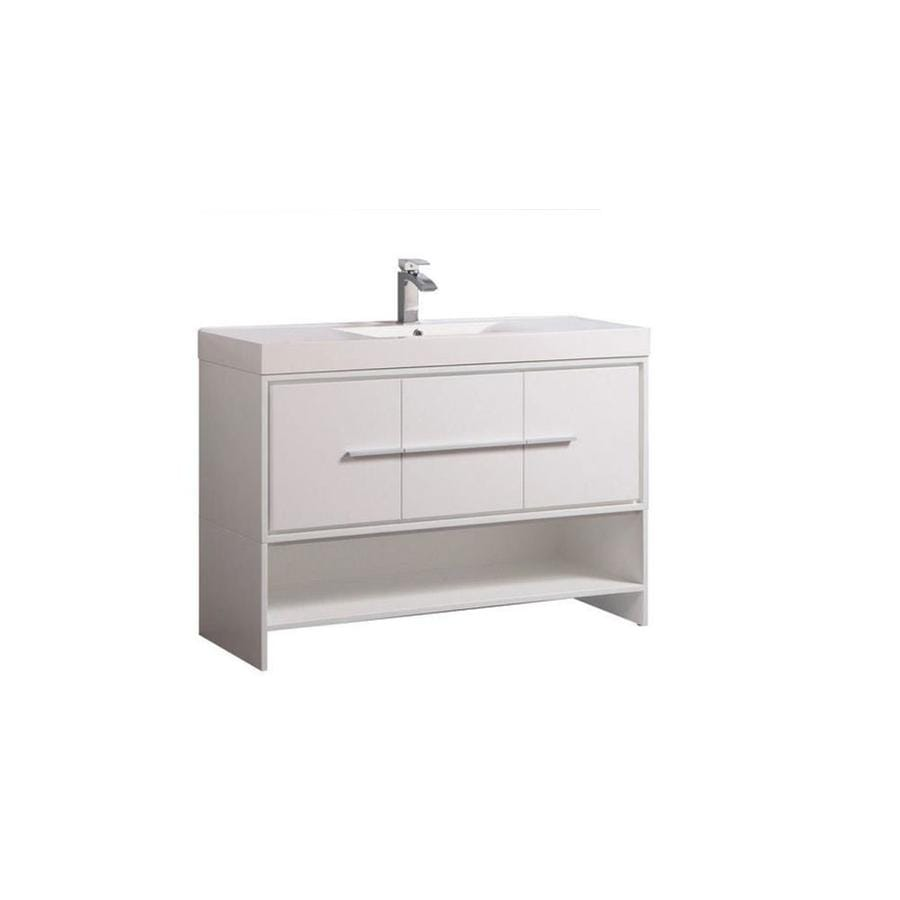 MTD Vanities Cypress White (Common: 48-in x 18-in) Integral Single Sink Oak Bathroom Vanity with Acrylic Top (Faucet and Mirror Included) (Actual: 48-in x 18-in)