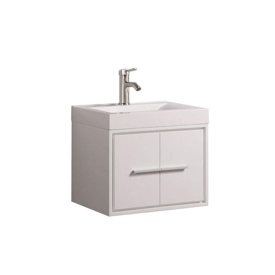 MTD Vanities Cypress White (Common: 30-in x 18-in) Integral Single Sink Oak Bathroom Vanity with Acrylic Top (Faucet and Mirror Included) (Actual: 30-in x 18-in)