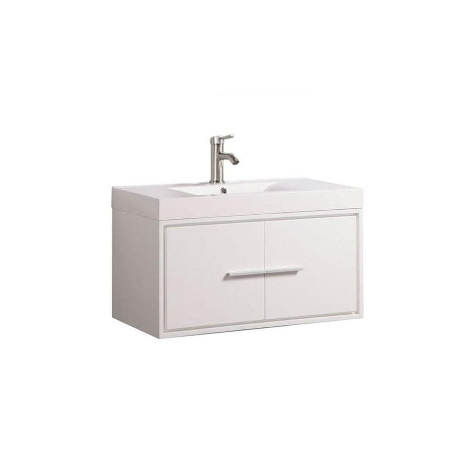 Mtd Vanities 36 In White Single Sink Bathroom Vanity With White Acrylic Top Mirror And Faucet Included In The Bathroom Vanities With Tops Department At Lowes Com