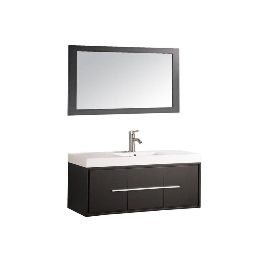 MTD Vanities 48-in Espresso Integral Single Sink Bathroom Vanity with Acrylic Top (Faucet and Mirror Included)