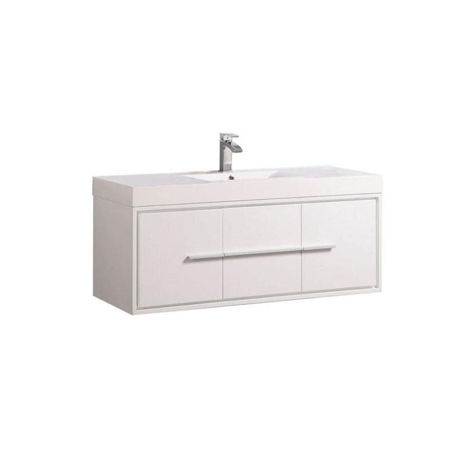 MTD Vanities White Integral Single Sink Bathroom Vanity with Acrylic Top (Common: 48-in x 18-in; Actual: 48-in x 18-in)